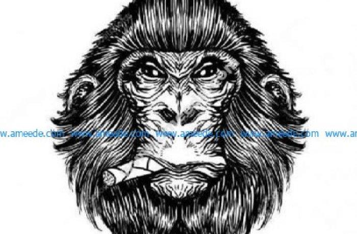 Smoking cigar chimp