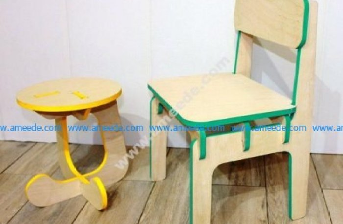 Furniture Children Is Stool and Highchair