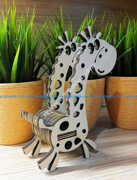 Laser Cut Giraffe Phone Stand