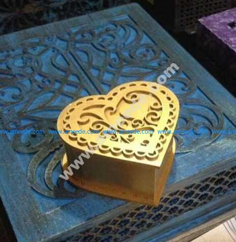 Laser Cut Heart Shaped Stash Box