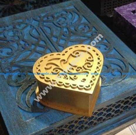 Laser Cut Heart Shaped Stash Box