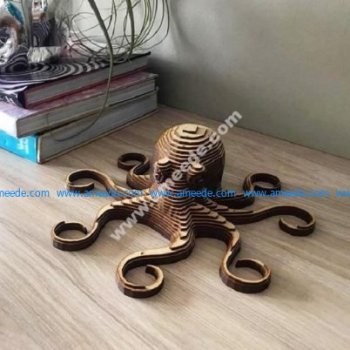 Laser Cut Octopus Layered Wooden