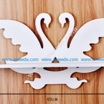 Laser Cut Swan Wall-Mounted Shelf