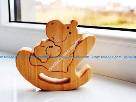Hippo lulls the baby to sleep lasercut