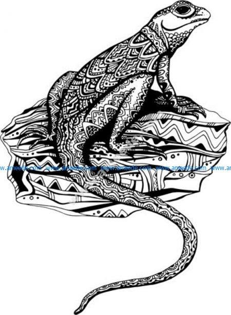 Hand Drawn Lizard Floral