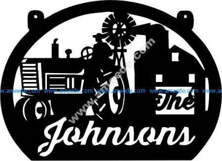 Johnson signboard and tractor head
