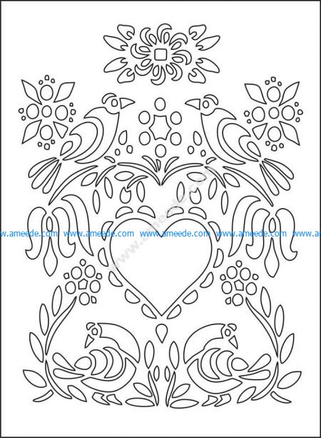 Love Illustration Floral Heart Flowers Birds