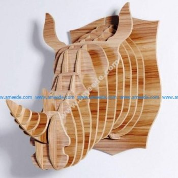 Rhino Head Trophy 3D Animal Head