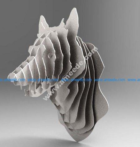 Wolf Trophy 3D Animal Head