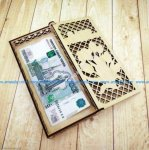 Wooden wallet with money