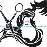 Salon decoration hair and scissors