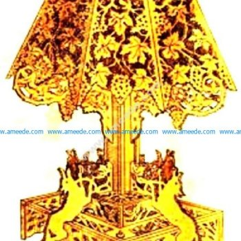 Tree land and wolves lamp