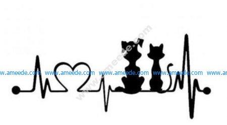 Dog cat heart line