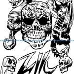 skull and dragon