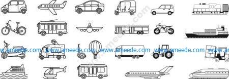 transport lineart set