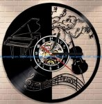 Piano and Violin Vinyl Wall Clock Laser Cut Template
