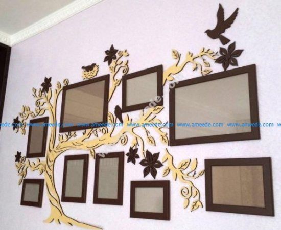 Tree picture frame with birds