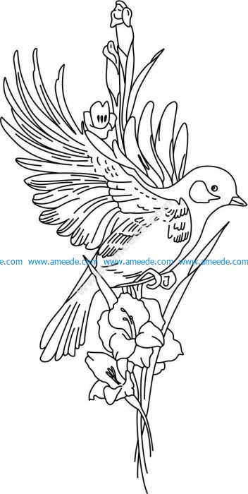 Vector laser engraving pattern of birds and flowers