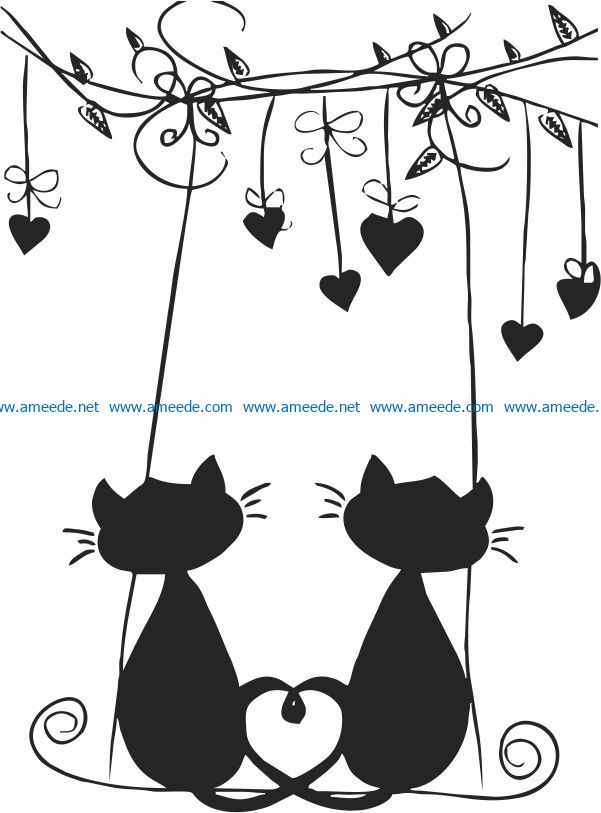 Download Cat in love file cdr and dxf free vector download for ...