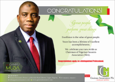 GUINEA INSURANCE CONGRATULATES NEWLY APPOINTED NIA CHAIRMAN