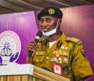 Chairman/Chief Executive of the NDLEA, Brig. Gen. Mohamed Buba Marwa (Retd), OFR, represented by Shehu Dankolo addressing youths on the need for pre-marital drug test at a conference hosted by his wife, Hajia Munirat Marwa in Abuja