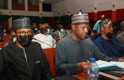 Securities and Exchange Commission, Mr Ibrahim Boyi and Director General SEC Mr Lamido Yuguda during the Public Hearing by the Joint Senate Committee on Finance, National Planning, Foreign and Local Debt, Banking , Insurance and Other Financial Institutions , Petroleum Sector and Gas on the 2022-2024 Medium Expenditure Framework and Fiscal Strategy Paper at the National Assembly