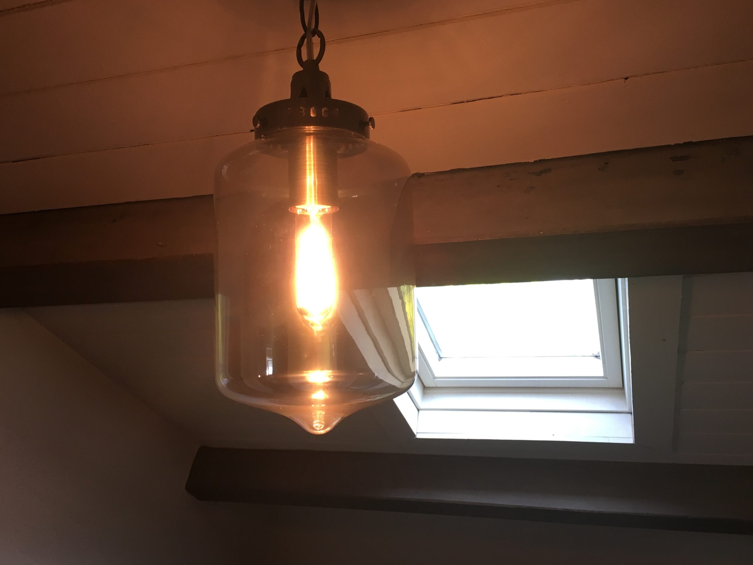 John Lewis amber glass pendant light with filament lightbulb