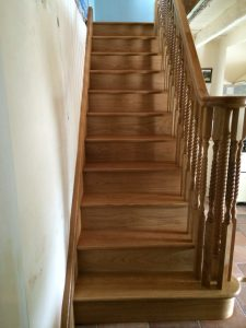 The beautiful new staircase manufactured by Wilkinsons Joiners in Wigton and installed by the very talented Kevin Curwen. Check out all those barley twists
