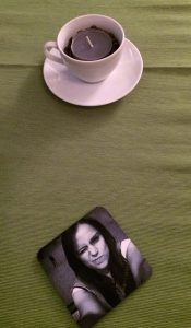 Personalised selfie coasters ordered from Snapfish using photos downloaded from the customers Facebook page