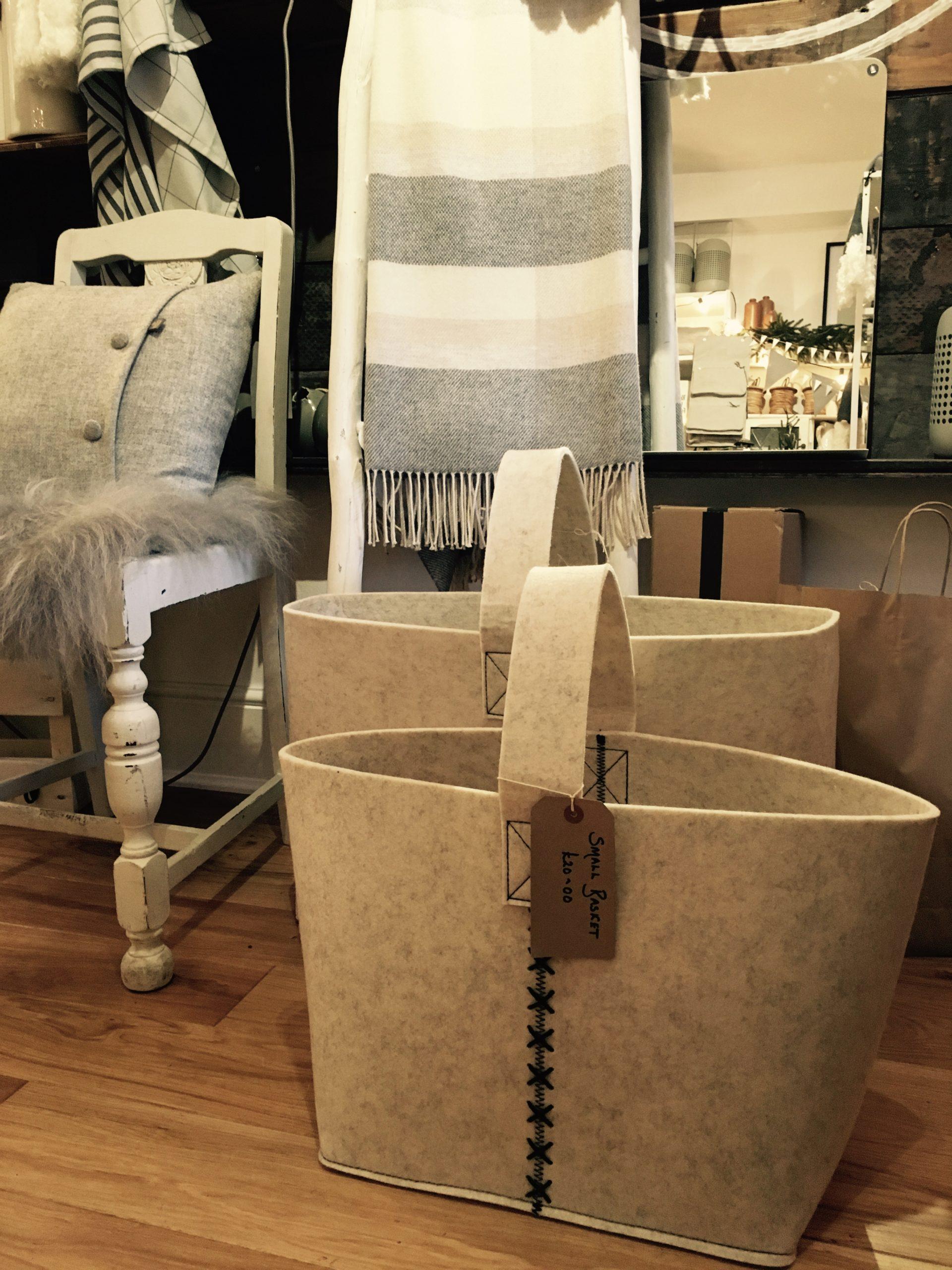 Felt baskets from Scandinavian interiors retailer MI Abode