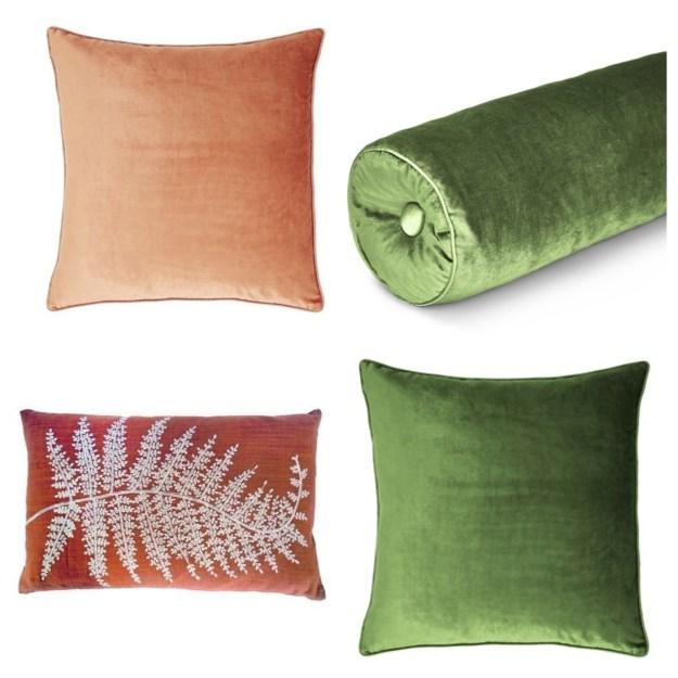 Velvet cushions from Laura Ashley. Leaf motif boudoir cushion from Dunelm
