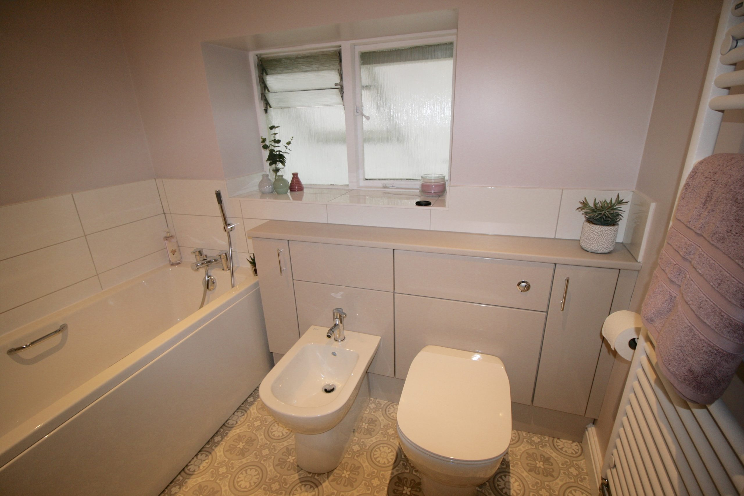 Dream bathroom - back to wall toilet and bidet in cashmere furniture