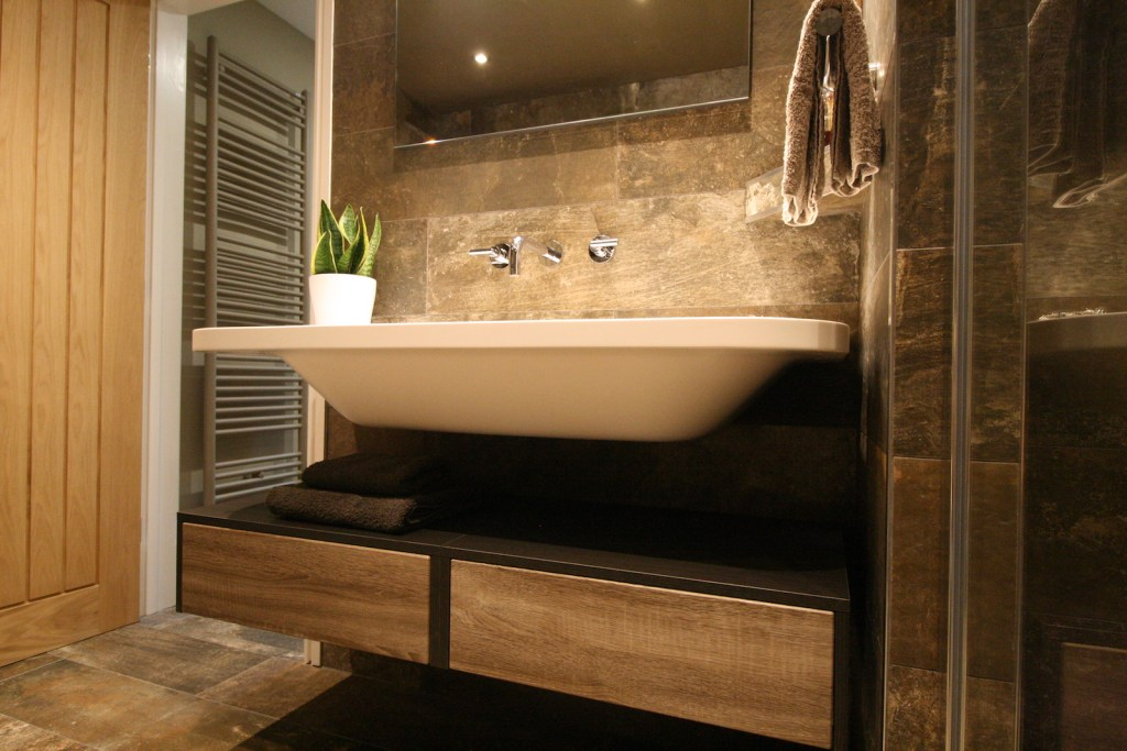 Sink with Drawers in bathroom