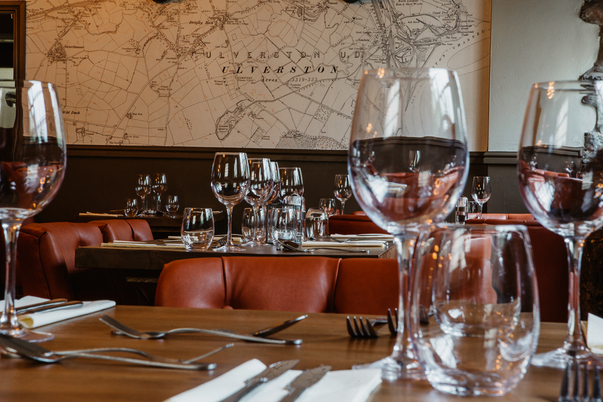 Restaurant at The Mill at Ulverston gastropub in Cumbria interior design by Amelia Wilson Interiors Ltd