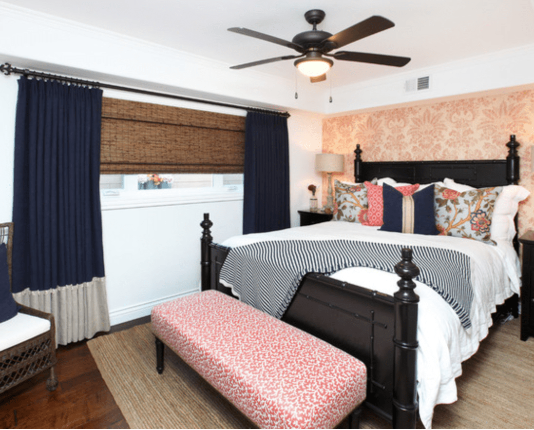 Pink and navy bedroom by V I Photography and Design via Houzz