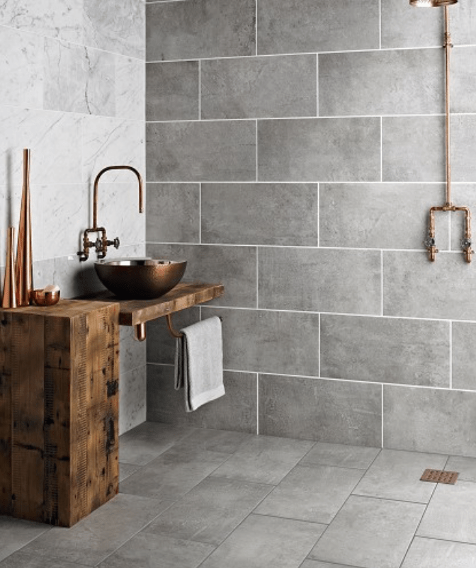 Bathrooms - Grey Tekno concrete effect tiles from Topps Tiles