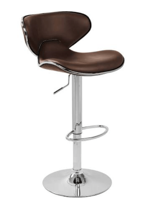Carcaso chrome and brown leather adjustable height bar stools from www.simplybarstools.co.uk