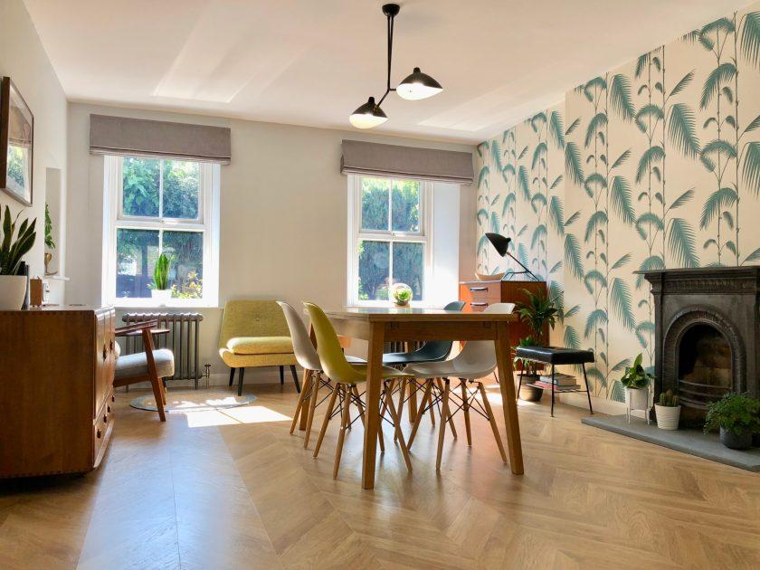 Interior design midcentury modern style dining room