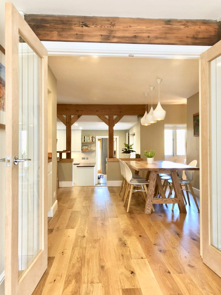Open plan living space designed by interior designer Amelia Wilson Cumbria