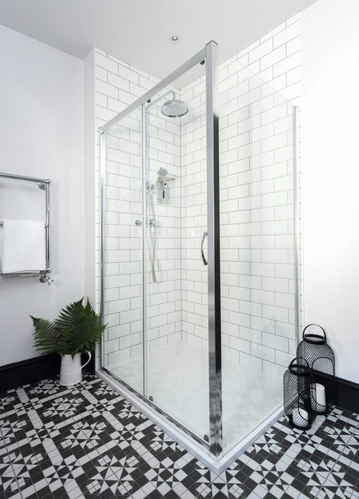Shower in Victorian style bathroom designed by Amelia Wilson