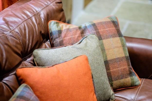 Burnt orange, green and plaid moon wool fabrics