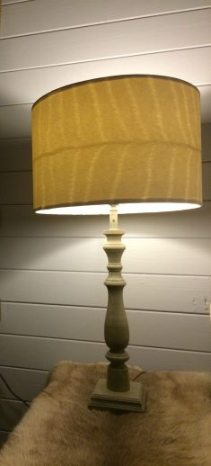 Custom made faux deer hide lampshades using Albany wallpaper