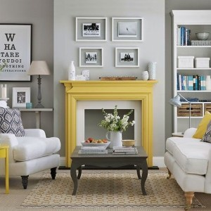 Yellow fireplace in a grey living room