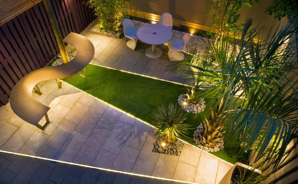 Modern garden with concealed lighting