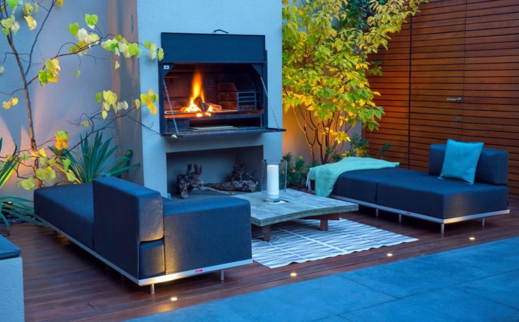 Modern garden design with outdoor fire