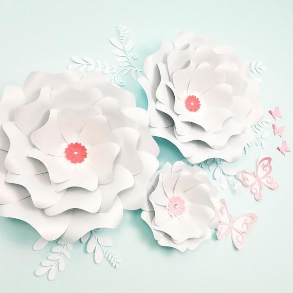 Three white large paper flowers nursery wall decor free shipping three white large paper flowers mightylinksfo