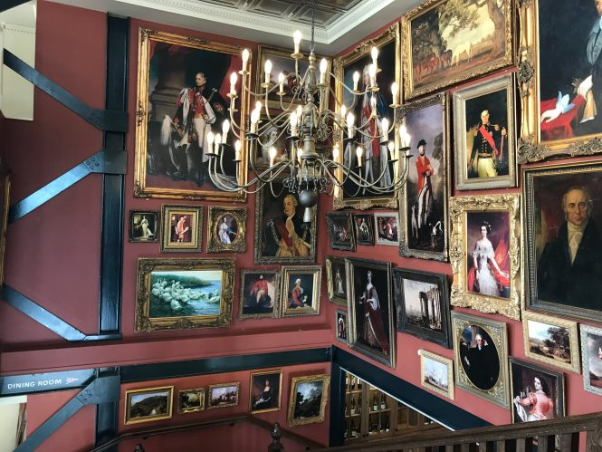 Antique picture wall of oil paintings