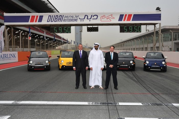 (L-R) Michael Scott (National Auto GM) Faisal Al Sahlawi (Dubai Autodrome GM) and Mark Jenkins