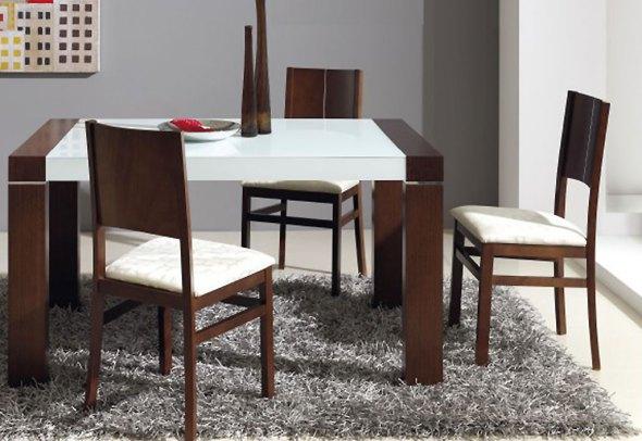 Promotions Table Extensible 140/185x90 en Chêne Massif + Verre Blanc Optique Mikonos