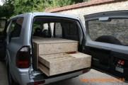 Caisson arrière en bloc, 1 tiroir cloisonné pour cuisinette avec rangement de la plaque de cuisson 1 feu et denrées alimentaires.